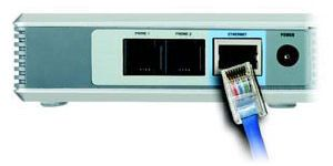 Collegamento tra ATA e ethernet (Fonte: Quick Install Linksys PAP2 Copyright © Cisco System, inc. 2004)