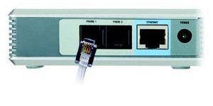 Collegamento tra ATA e telefono (Fonte: Quick Install Linksys PAP2 Copyright © Cisco System, inc. 2004)