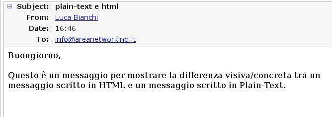 Messaggio scritto in HTML