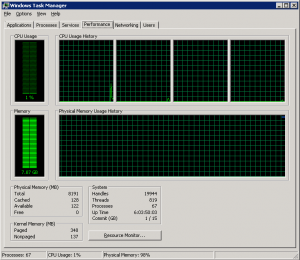 Server Task Manager con il problema in atto