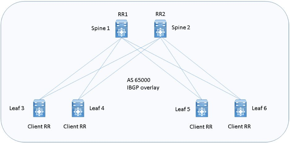 Figura 6: architettura Data Center Spine I-BGP one-Fabric overlay design