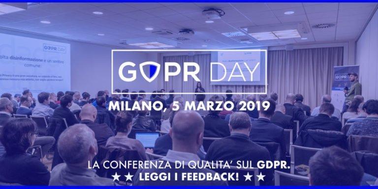 Aperta la vendita dei biglietti per il GDPR Day 2019