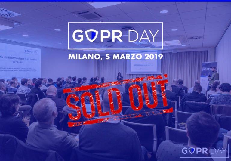Tutto esaurito per il GDPR Day 2019