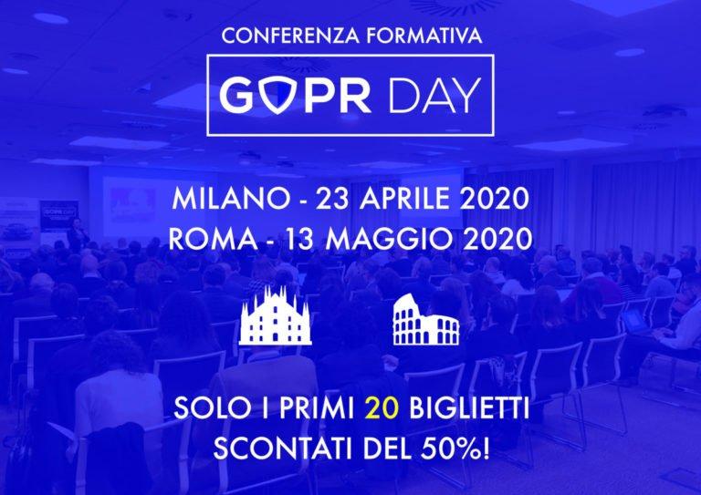 GDPR Day 2020: 23 Aprile a Milano e 13 Maggio a Roma