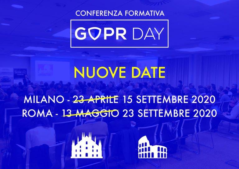 Le nuove date del GDPRDay2020
