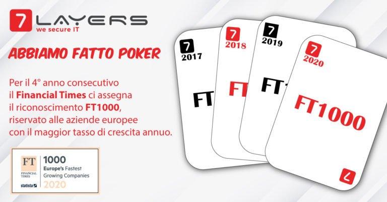 Il poker di 7Layers: per il quarto anno consecutivo nella classifica Financial Times FT1000, tra le aziende con la crescita di fatturato più alta in tutta Europa