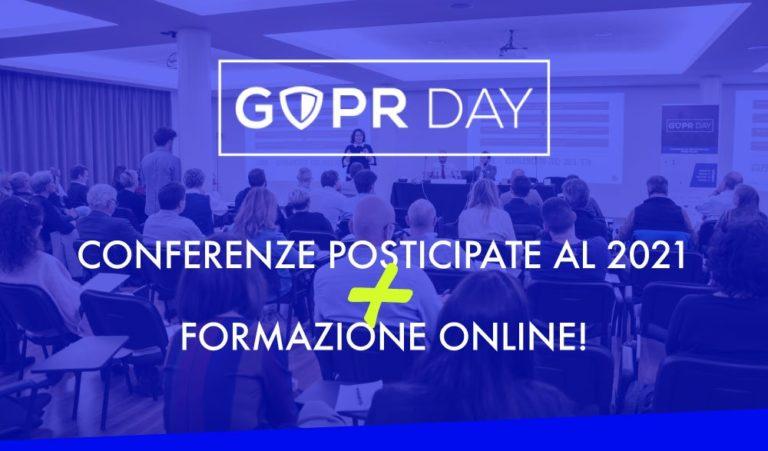 Il GDPR Day si trasforma: formazione on line e rinvio al 2021 per garantire la sicurezza di tutti