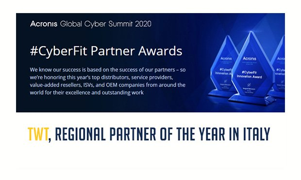 ACRONIS premia TWT come miglior Partner italiano 2020